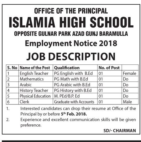 Islamia High School Baramulla has job vacancies