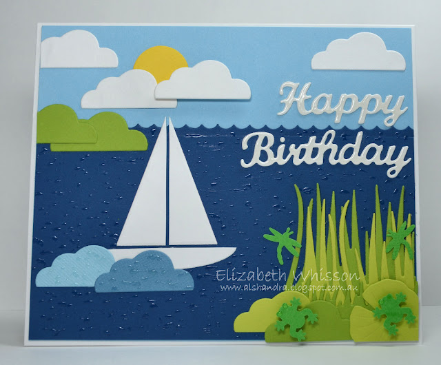 Elizabeth Whisson, Alshandra, Happy Birthday, no stamping, frog, boat, clouds, grass, ocean, sea, lake