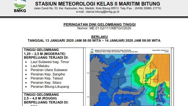 BMKG : Peringatan dini cuaca tanggal 11 - 13 Januari 2020