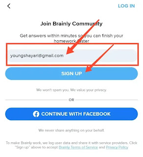 brainly app sign up