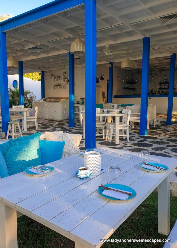open air dining area of Fish restaurant Dubai