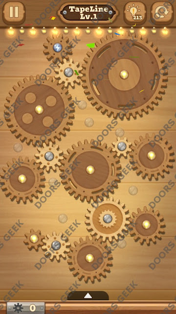 Fix it: Gear Puzzle [TapeLine] Level 1 Solution, Cheats, Walkthrough for Android, iPhone, iPad and iPod