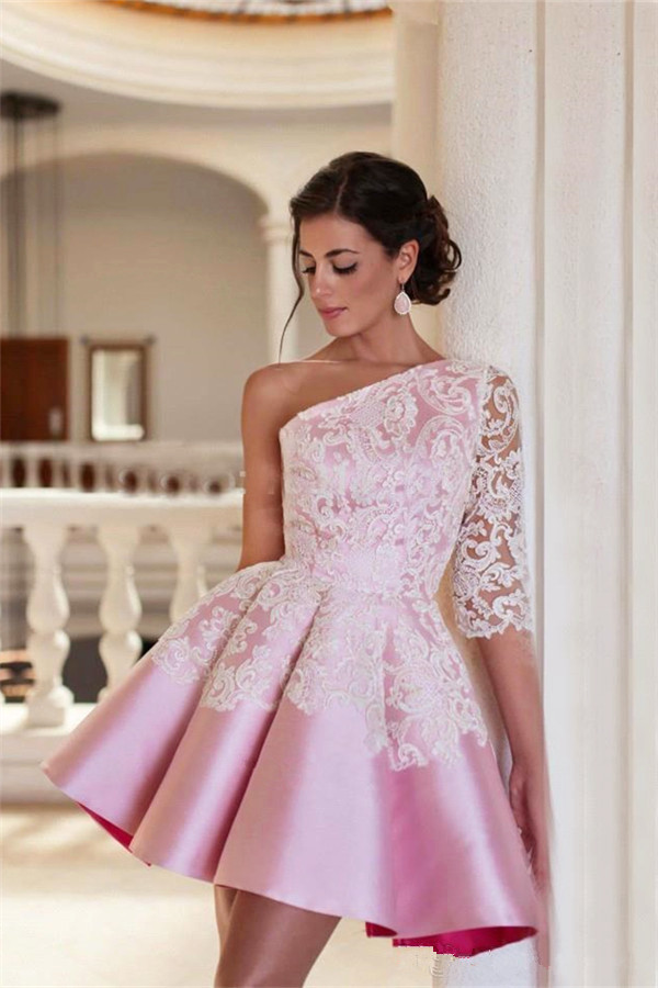 One Shoulder Half Sleeve Mini Homecoming Dress A-Line Pink Lace 2017 Cocktail Gowns
