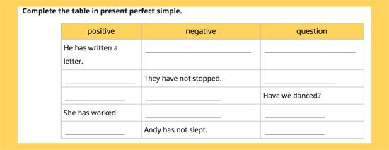 Present Perfect online exercises