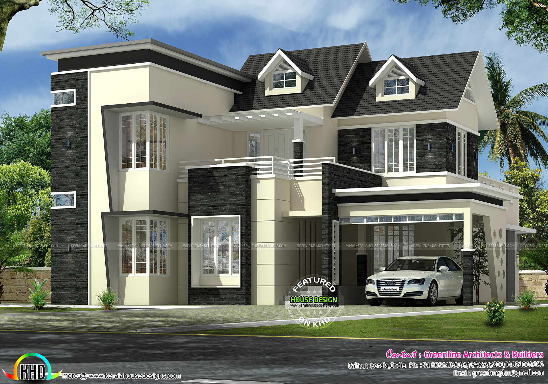 2745 sq ft 4 bedroom modern dormer window home home for Modern house details