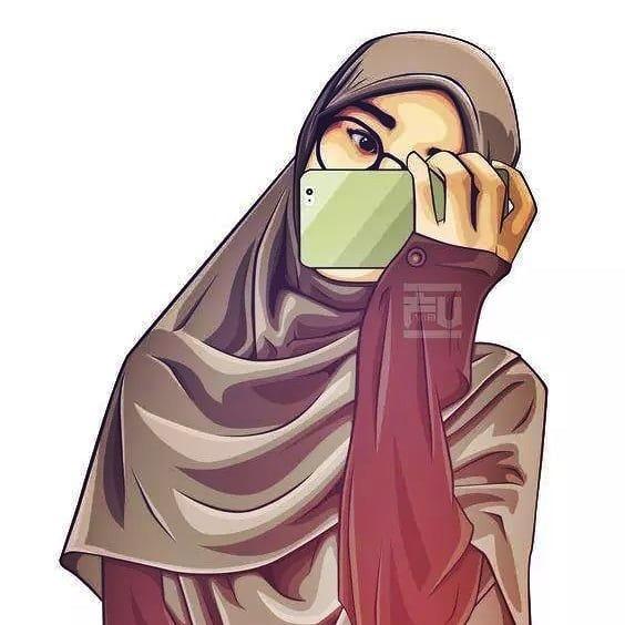 Gambar kartun muslimah bercadar berkacamata