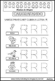 Caligrafando letra R pontilhada