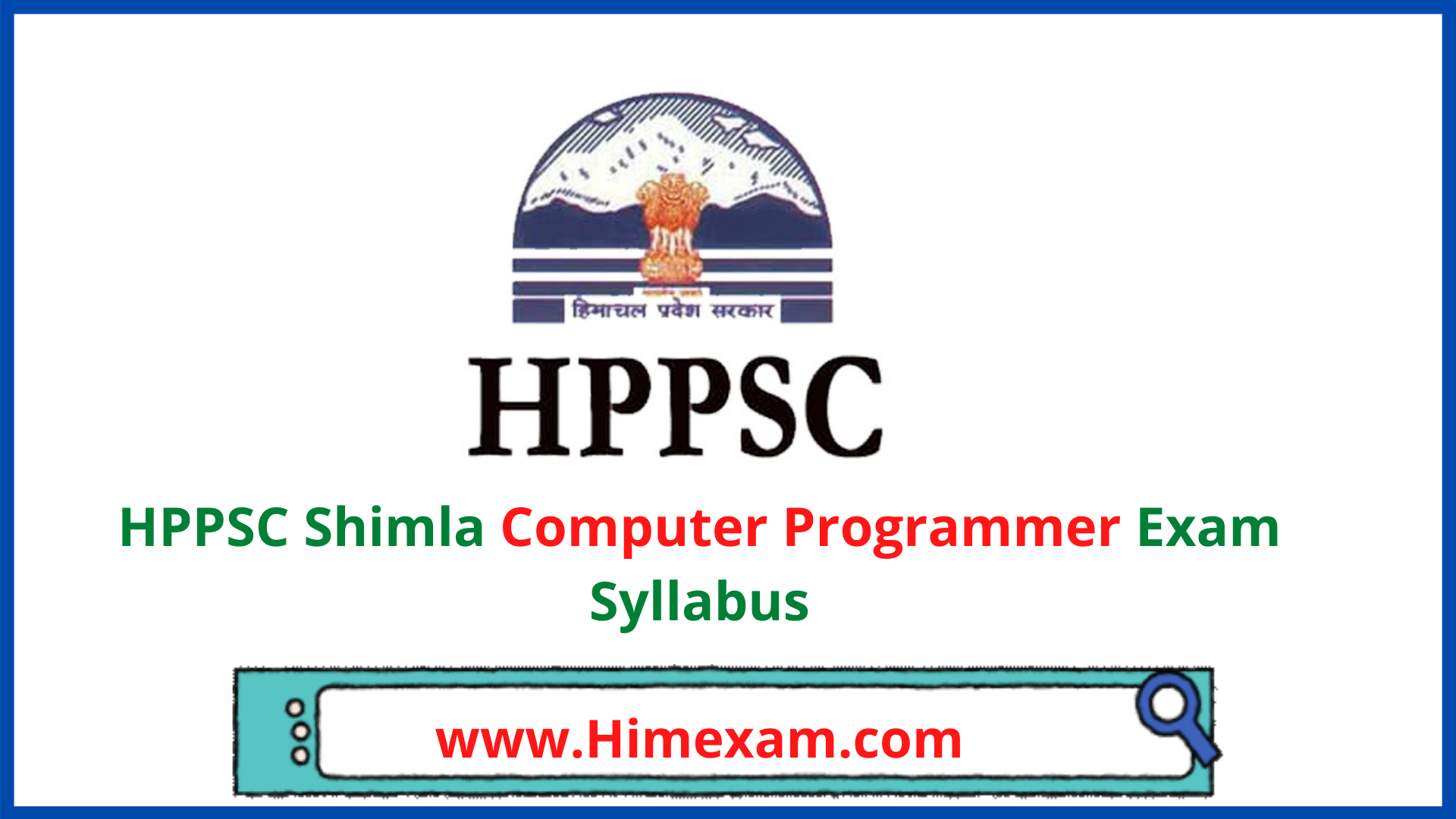 HPPSC Shimla Computer Programmer(Jal Shakti Vibhag) Exam Syllabus