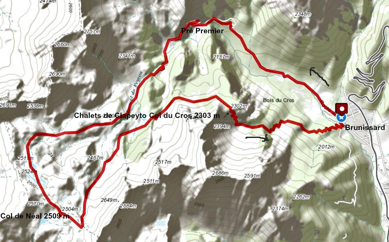 Col de Néal loop trail track
