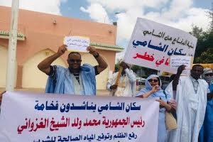 سكان الشامي يتظاهرون أمام القصر الرئاسي