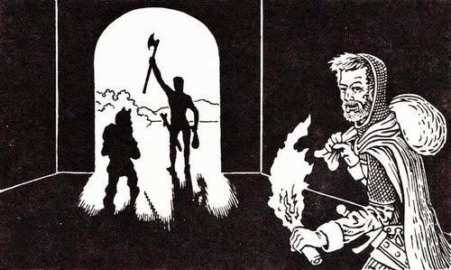 Dungeon exit with self portrait of artist David Trampier