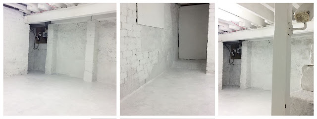 white walls, studio space, basement renovation, basement studio, basement decor, whitewashed walls, all white everything, renovation, DIY