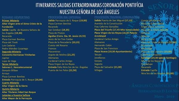 Horarios e Itinerarios Salidas Extraordinarias Coronación Pontifícia Nuestra Señora de los Ángeles de Sevilla