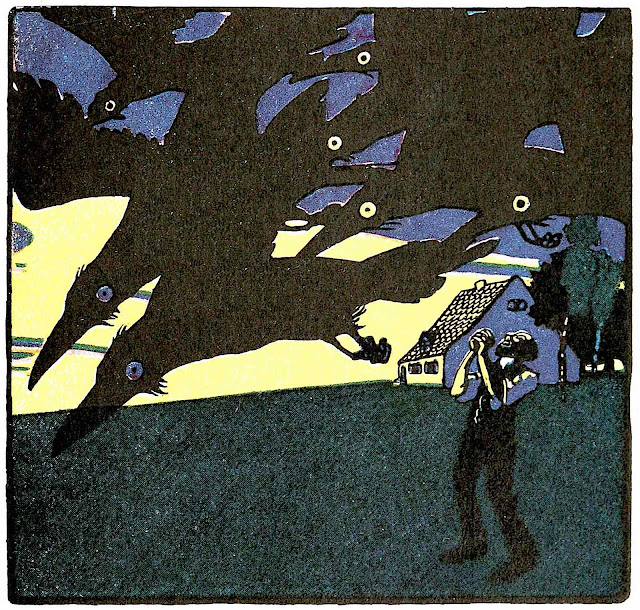 an Albert Weisgerber illustration 1900, flying crows are a bad omen