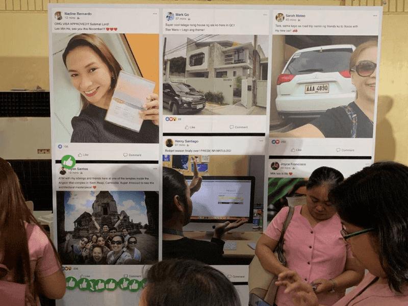 "Interactive Facebook ""wall"" at the caravan"