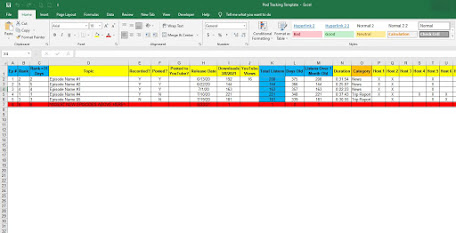 podcast tracking spreadsheet