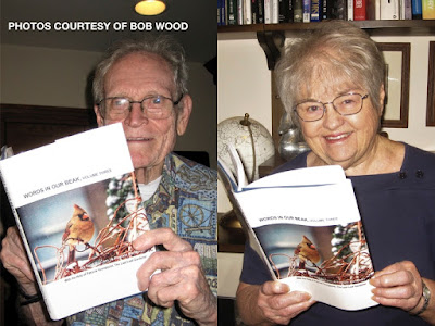 "This is a photo of collage of two images, courtesy of UFO expert, Robert Wood. At the left side of the collage is where is featured. He is a man in his late eighties and is wearing glasses as he poses with volume three of my book series, ""Words In Our Beak.""  The right side of the collage features a woman in her late seventies or early eighties. She is also wearing glasses as she poses with volume three. Information re these books as well as info re volumes one and two is on my blog @ https://www.thelastleafgardener.com/2018/10/one-sheet-book-series-info.html"