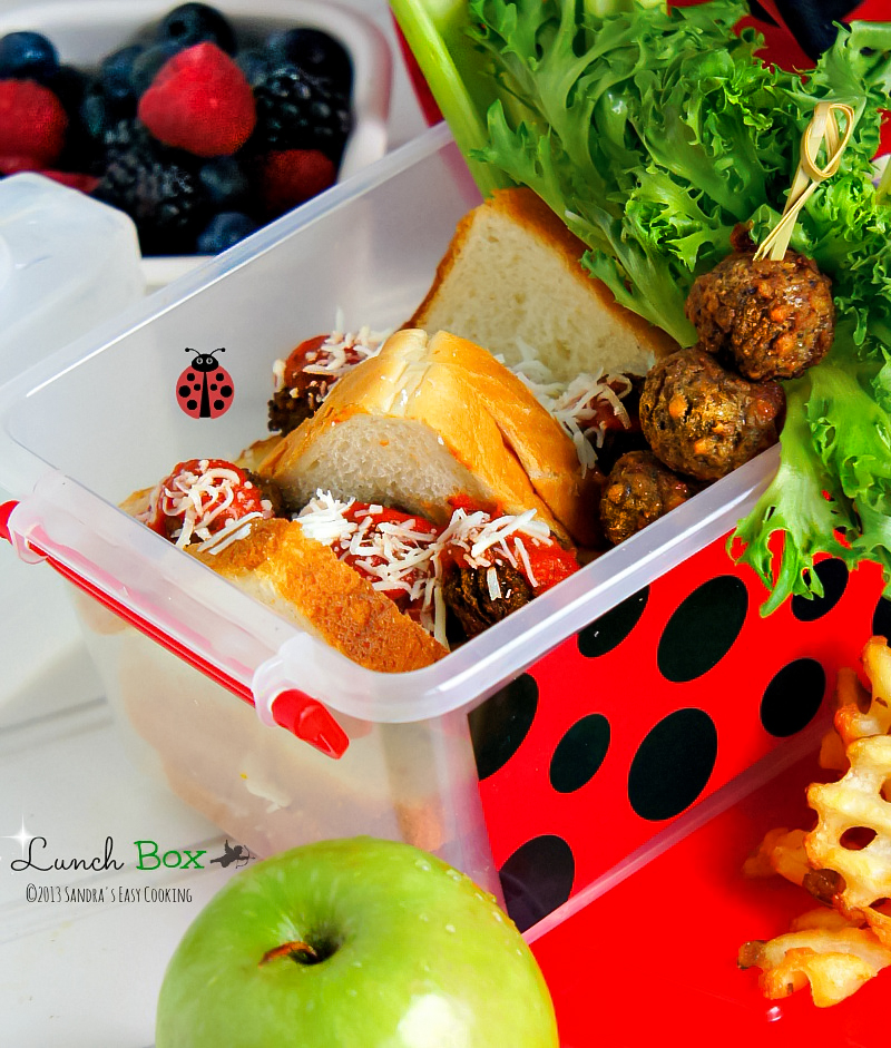 Delicious homemade Lunch Box for kids/school or work Meatball Marinara