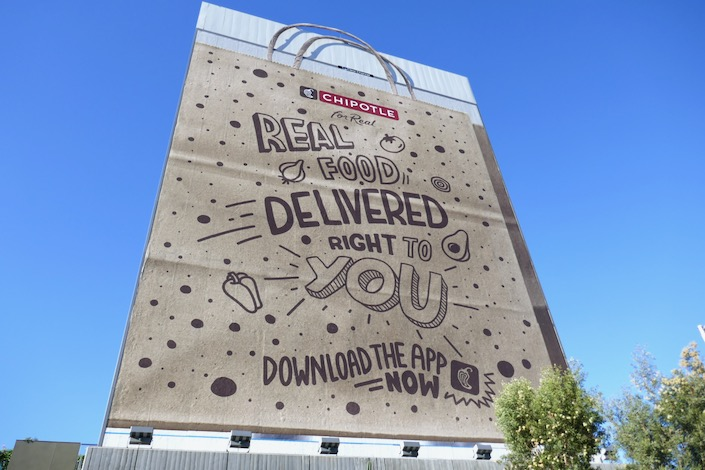 Giant Chipotle food delivered billboard