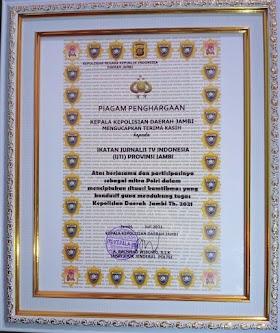 IJTI Jambi Terima Penghargaan Dari Kapolda Jambi, ketua IJTI Beri Apresiasi