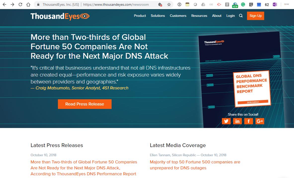 Converge! Network Digest: ThousandEyes: Fortune 50 companies