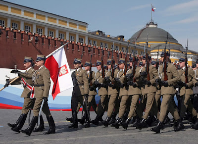 Polish military parade in Red Square May 9 Victory Day