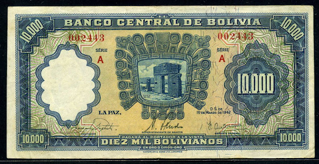 10000 Bolivianos banknote money currency bill