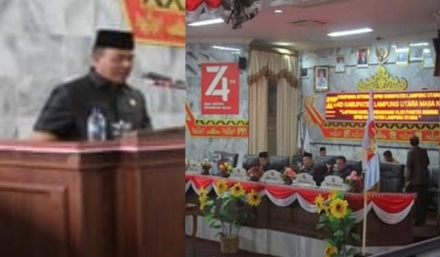 Ketua DPRD Kabupaten Lampung Utara  Memimpin Rapat Paripurna Internal  Mengenai  Laporan Hasil Pembahasan Panitia Khusus