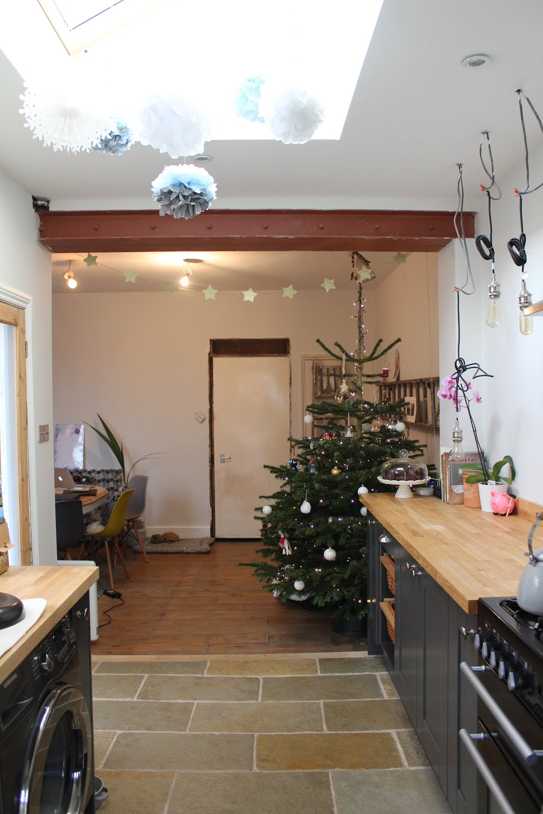 Christmas tree in galley kitchen