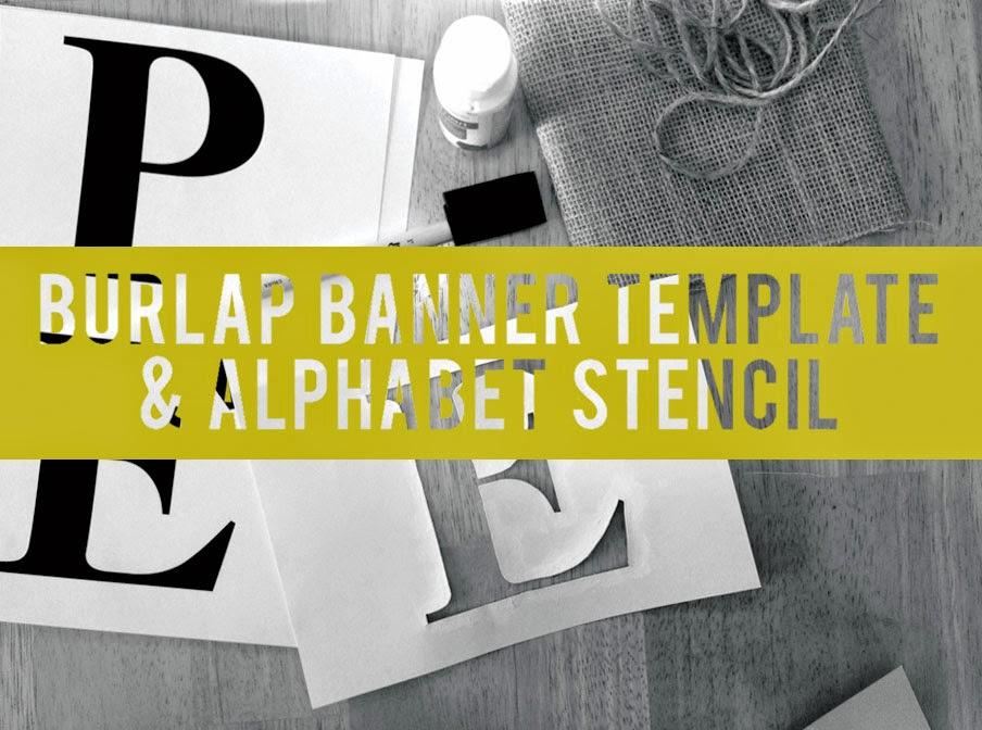 Marta Writes Burlap Pennant Banner Full Alphabet Stencil