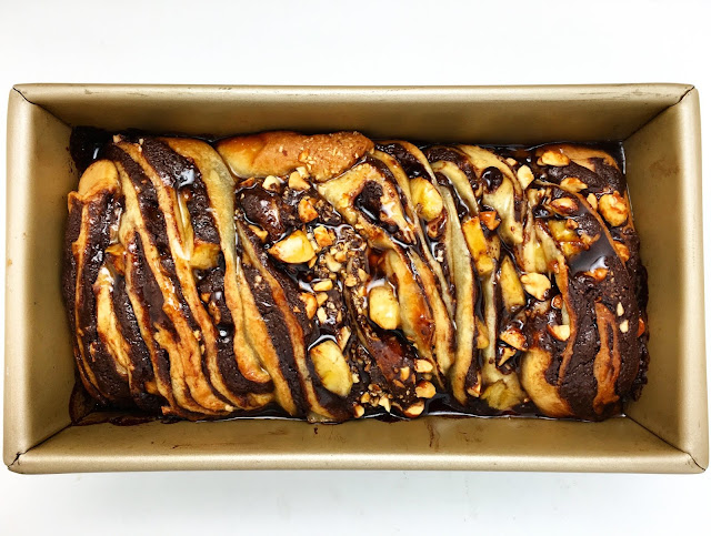 Baked and Glazed Chocolate Peanut Butter Banana Babka