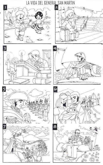 Colorear dibujos de Vida y muerte de  José de San Martín