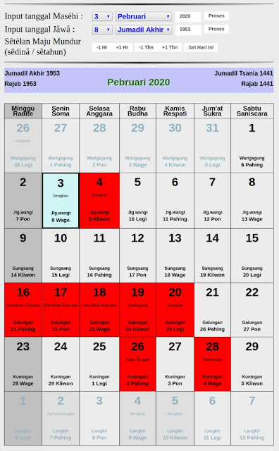 Kalender Jawa hari baik bulan februari 2020