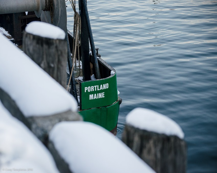 Portland, Maine USA February 2016 boat docked at Merrill's Wharf photo by Corey Templeton.