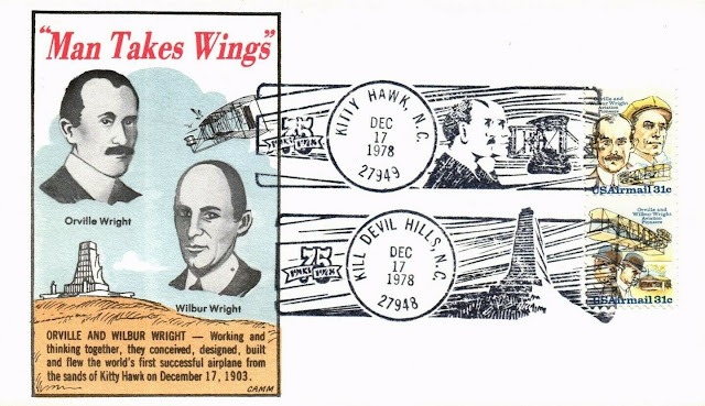 Orville And Wilbur Wright  U.S. Postage Stamps Pair FDC