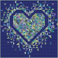 Exploding Heart quilt in the Kaffe Fassett Ocean collection