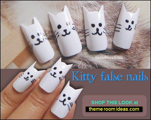 kitty false nails crazy cat lady fake nails cat nails pet animals nail designs cat claws nail decorations