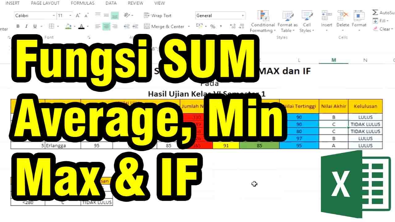 fungsi SUM, Average, Min, Max dan rumus IF pada excel