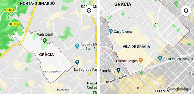 Mapas do Distrito de Gràcia e da Vila de Gràcia, Barcelona