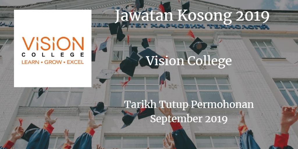 Jawatan Kosong Vision College September 2019