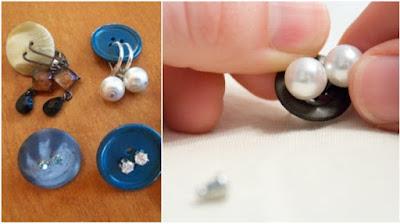 Usar botões de roupa para guardar seus brincos