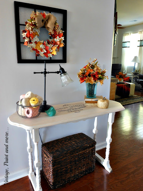 Vintage, Paint and more... thrifted upcycled and painted vintage lamp, vase, paper page wreath, twine pumpkin, painted and stenciled French table.