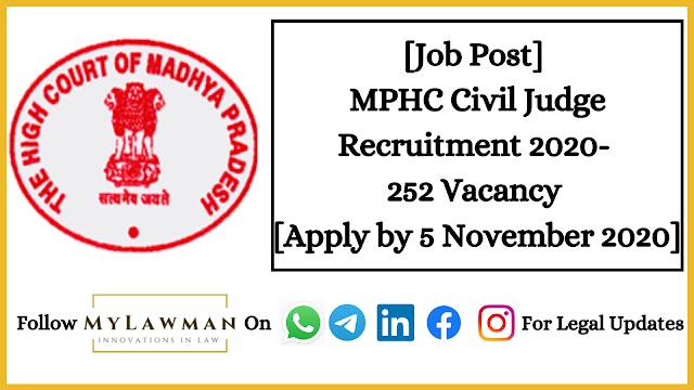 [Job Post] MPHC Civil Judge Recruitment 2020- 252 Vacancy [Apply by 5 November 2020]