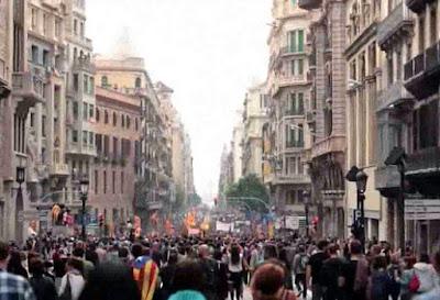 Manifestación en las calles de Barcelona el 3 de octubre para denunciar la violencia policial del 1 de octubre