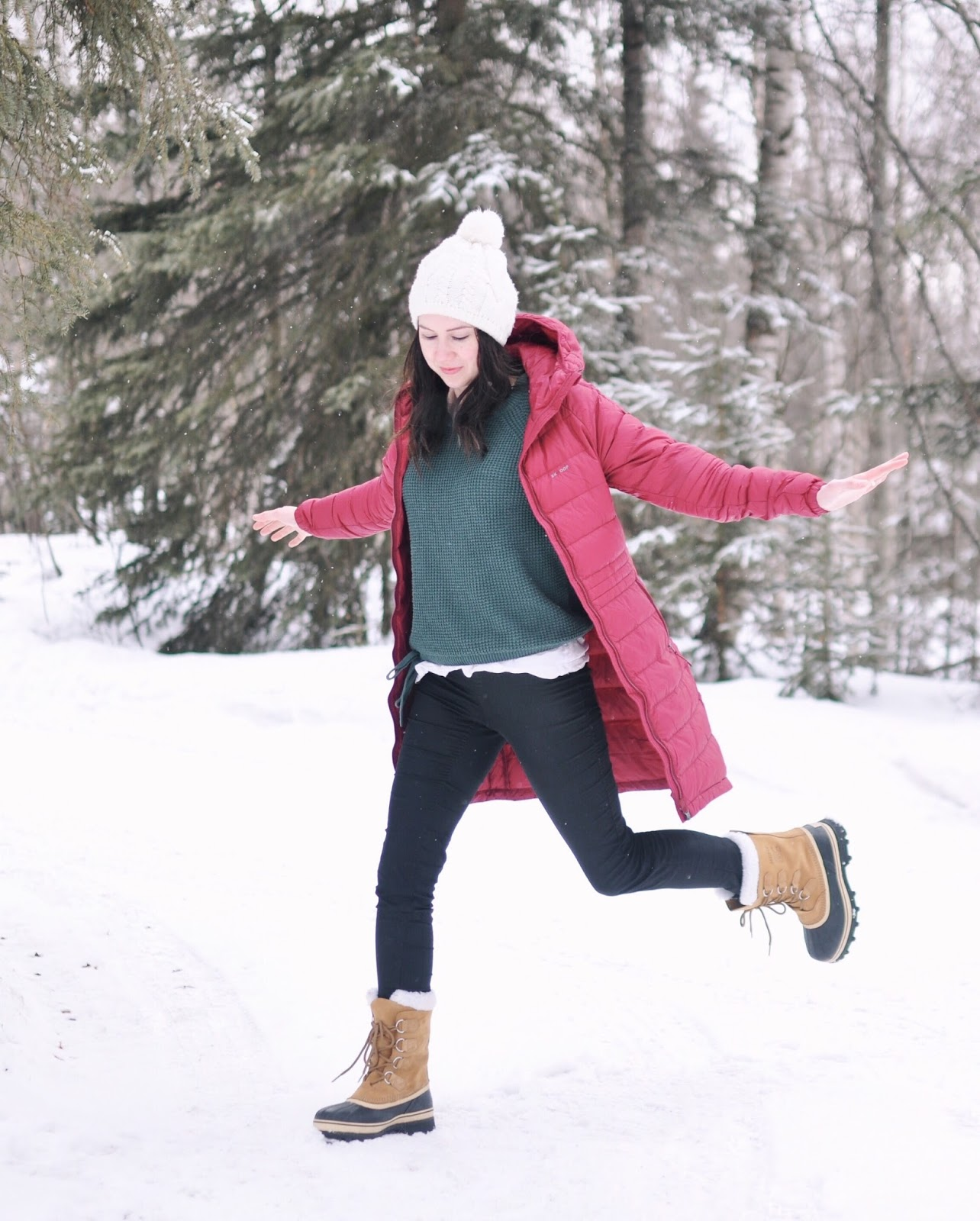 sorel boots skhoop coat winter cold weather outfit inspiration
