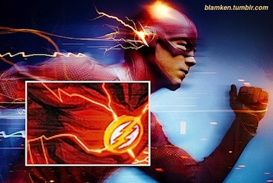 Grant Gustin as The Flash running in close-up profile with art of the character in the same pose overlaid on photo