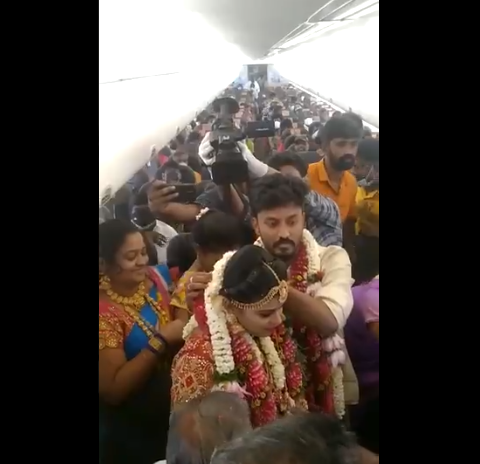Wedding ceremony in the middle of the sky by renting a plane - video