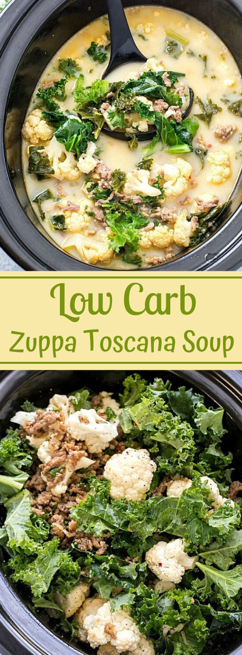 Slow Cooker Low Carb Zuppa Toscana Soup #lowcarb #diet #paleo #whole30 #cooker
