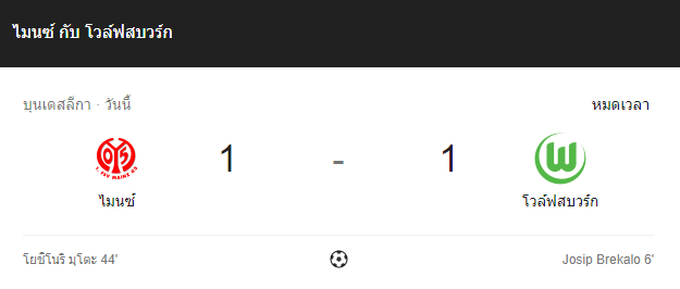 แทงบอล ไฮไลท์ เหตุการณ์การแข่งขันระหว่าง ไมนซ์ vs โวล์ฟสบวร์ก