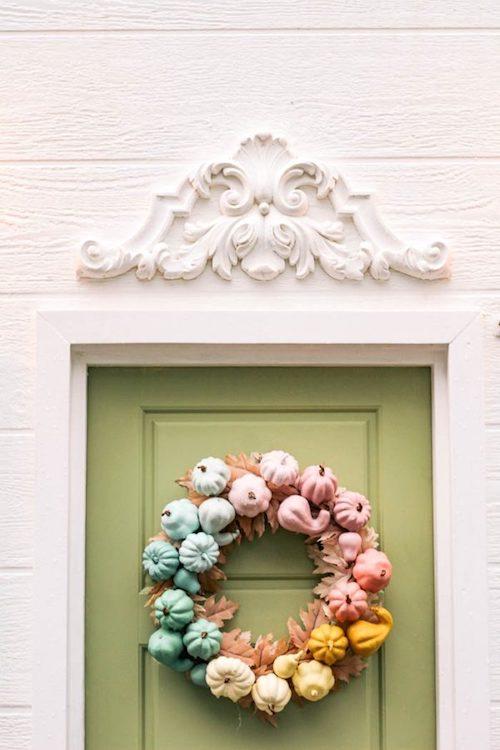 Pastel rainbow miniature pumpkin wreath